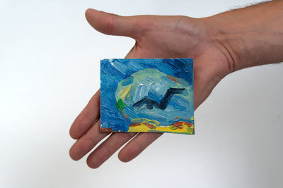 Korenveld met Kraaien mini schilderij, geschilderd in olieverf op doek