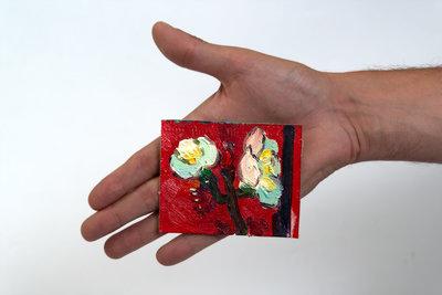 Pruimenbloesem mini schilderij, geschilderd in olieverf op doek
