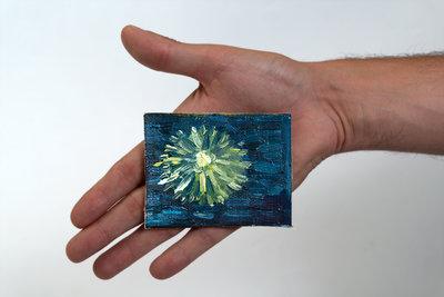 Sterrennacht boven de Rhone mini schilderij, geschilderd in olieverf op doek