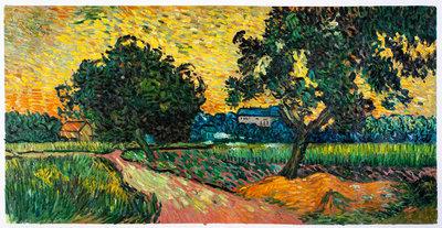 Landschap bij Avondschemering Van Gogh reproductie, geschilderd in olieverf op doek
