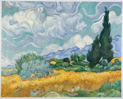 Korenveld met Cipressen Van Gogh reproductie, 1889