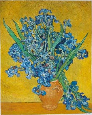 Vaas met Irissen tegen een Gele Achtergrond Van Gogh reproductie, 1890