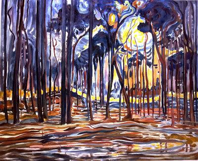 Bos bij Oele Mondriaan reproductie, geschilderd in olieverf op doek