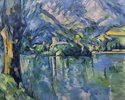 Meer van Annecy Cezanne reproductie, geschilderd in olieverf op doek