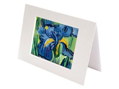 Irissen mini schilderij, geschilderd in olieverf op doek
