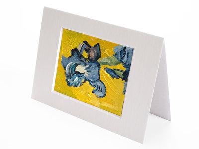 Vaas met Irissen geel mini schilderij, geschilderd in olieverf op doek