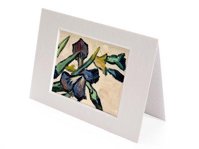 Vaas met Irissen mini schilderij, geschilderd in olieverf op doek