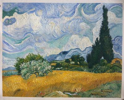 Korenveld met Cipressen bij de Haute Galline Van Gogh Reproductie, 1889
