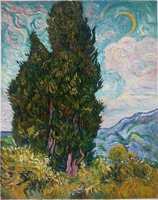 Cipressen Van Gogh reproductie, 1889