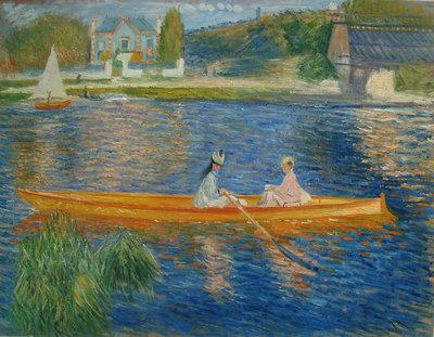 De Skiff Renoir reproductie, geschilderd in olieverf op doek