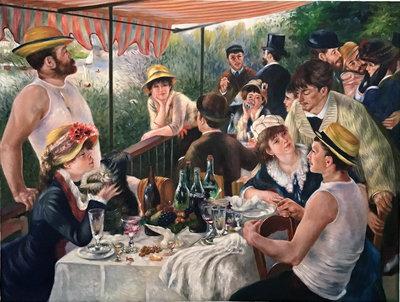 Lunch van de Roeiers Renoir reproductie, geschilderd in olieverf op doek