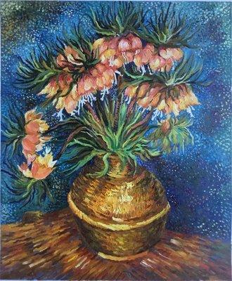 Kievitsbloemen in een Koperen Vaas Van Gogh reproductie, geschilderd in olieverf op doek