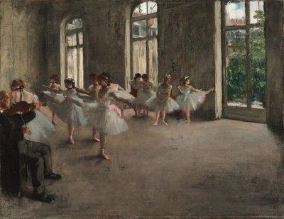 Balletrepetitie Degas reproductie, geschilderd in olieverf op doek