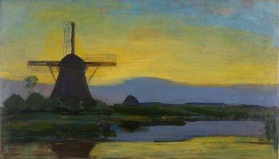 Oostzijde Molen bij Avond Mondriaan reproductie, geschilderd in olieverf op doek
