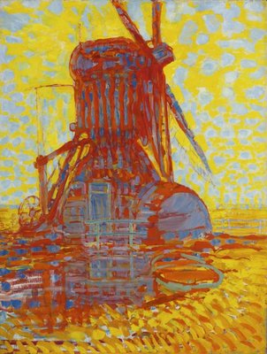 Molen bij Zonlicht Mondriaan reproductie, geschilderd in olieverf op doek