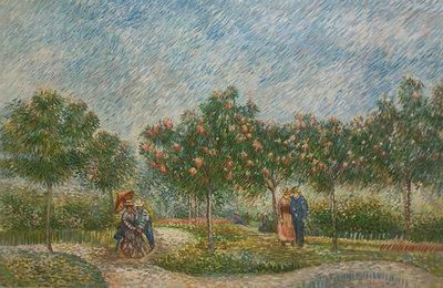 Tuin met Geliefden Van Gogh reproductie, geschilderd in olieverf op doek