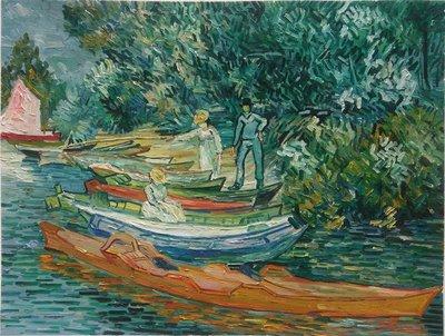 Oevers van de Oise bij Auvers Van Gogh reproductie, geschilderd in olieverf op doek