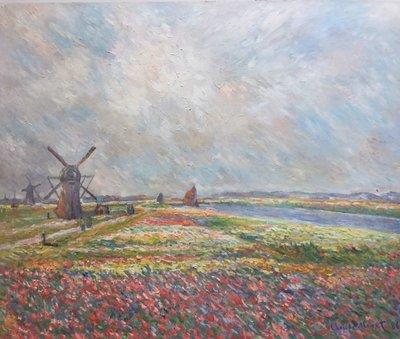 Tulpenvelden bij Den Haag Monet reproductie, geschilderd in olieverf op doek