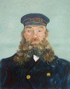 Portret van postbode Joseph Roulin Detroit Van Gogh reproductie, geschilderd in olieverf op doek