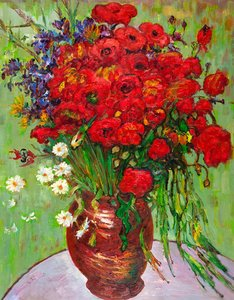 Red Poppies and Daisies Van Gogh reproduction