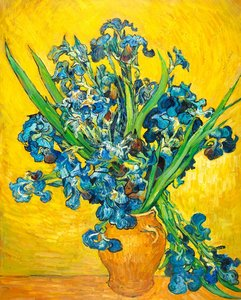Vase with Irises against a Yellow Background Van Gogh