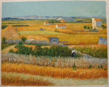 Harvest La Crau with Montmajour in the Background Van Gogh reproduction