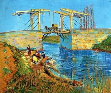 Langlois Bridge at Arles with Women Washing Van Gogh reproduction