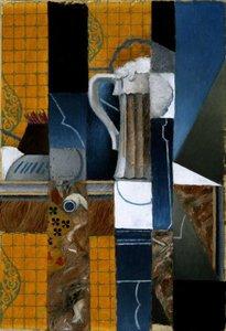 Bierglas en speelkaarten Juan Gris reproductie, geschilderd in olieverf op doek