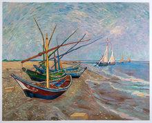 Fishing Boats on the Beach at Saintes-Maries Van Gogh reproduction